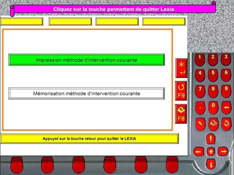    F9 F8 Cliquez sur la touche permettant de quitter Lexia