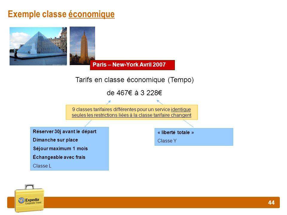Exemple classe économique