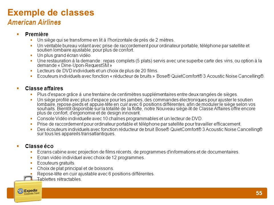Exemple de classes American Airlines
