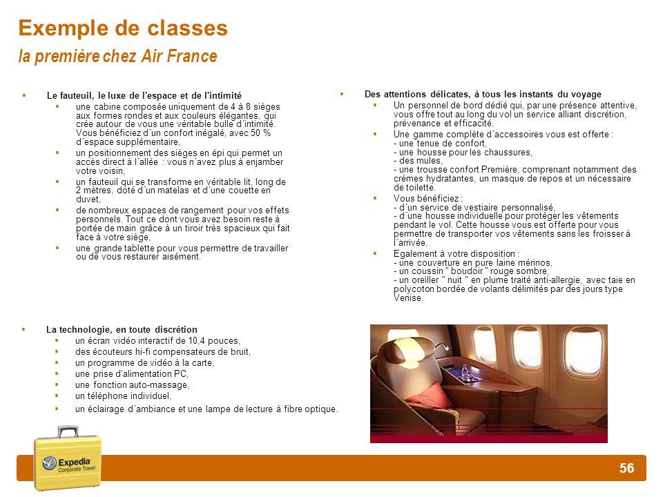 Exemple de classes la première chez Air France