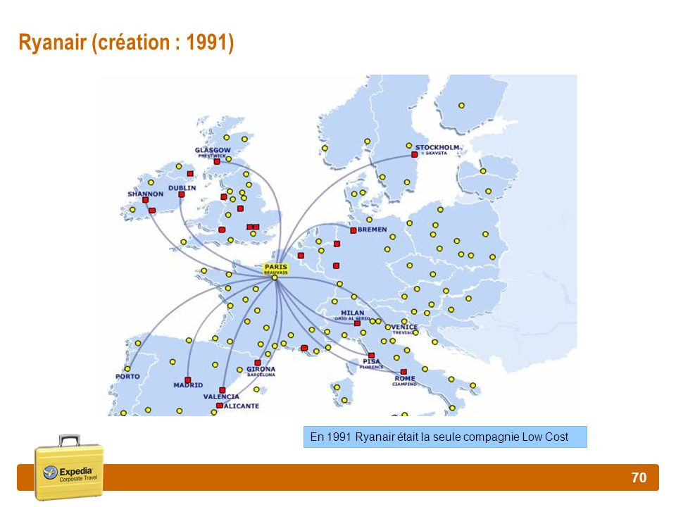 Ryanair (création : 1991) En 1991 Ryanair était la seule compagnie Low Cost
