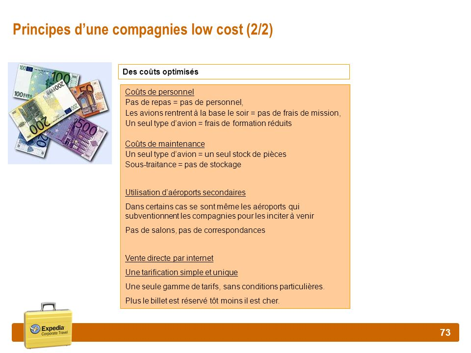 Principes d'une compagnies low cost (2/2)