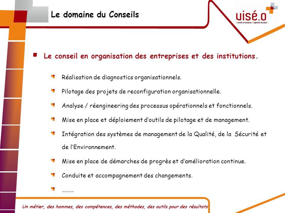 Le domaine du Conseils Le conseil en organisation des entreprises et des institutions. Réalisation de diagnostics organisationnels.