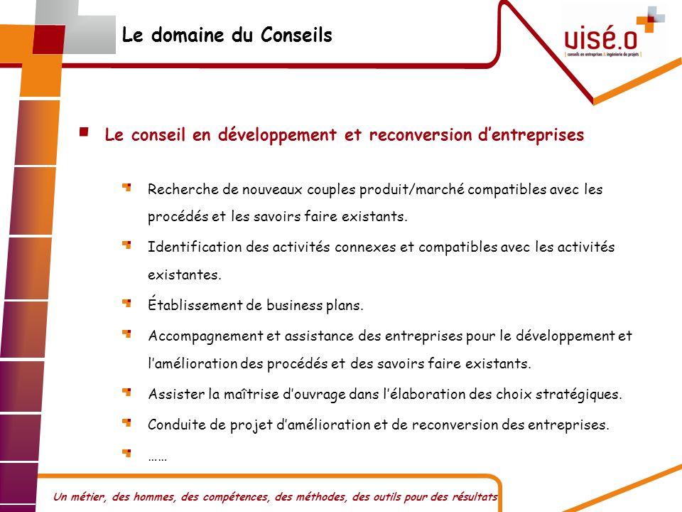 Le domaine du Conseils Le conseil en développement et reconversion d'entreprises.