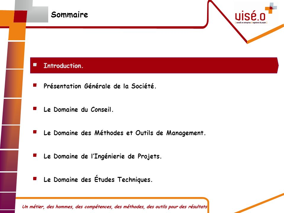 Sommaire Introduction. Présentation Générale de la Société.