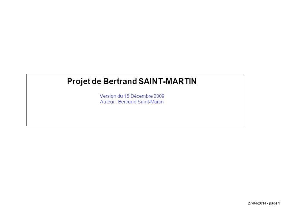 Projet de Bertrand SAINT-MARTIN Version du 15 Décembre 2009 Auteur : Bertrand Saint-Martin
