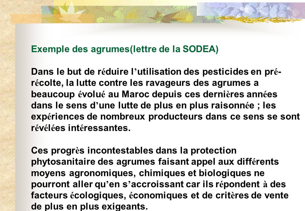 Exemple des agrumes(lettre de la SODEA)