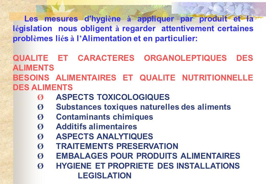 Les mesures d hygiène à appliquer par produit et la législation nous obligent à regarder attentivement certaines problèmes liés à l'Alimentation et en particulier: