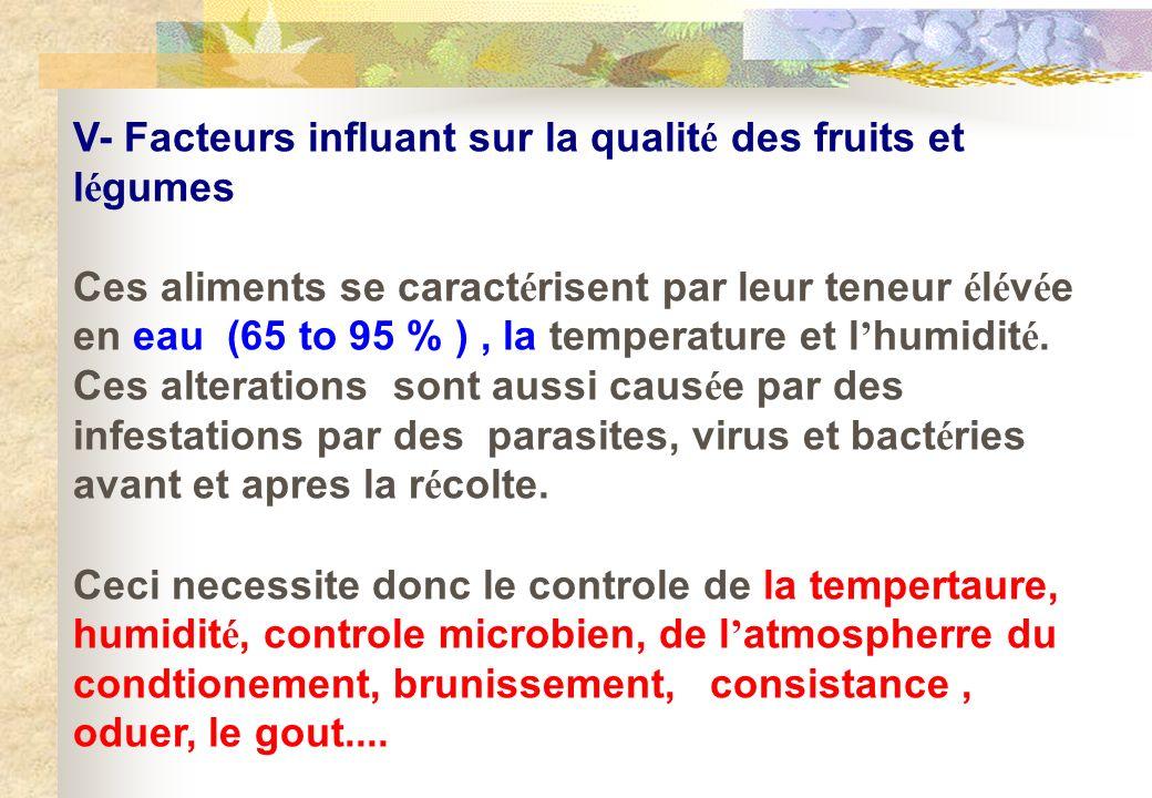 V- Facteurs influant sur la qualité des fruits et légumes