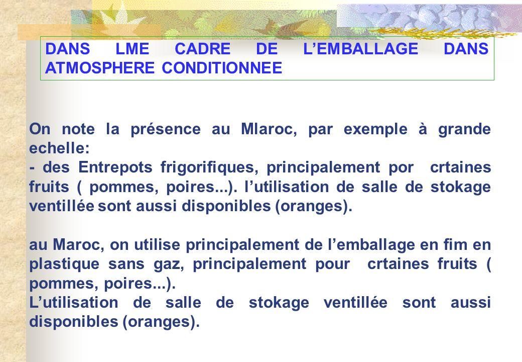 DANS LME CADRE DE L'EMBALLAGE DANS ATMOSPHERE CONDITIONNEE