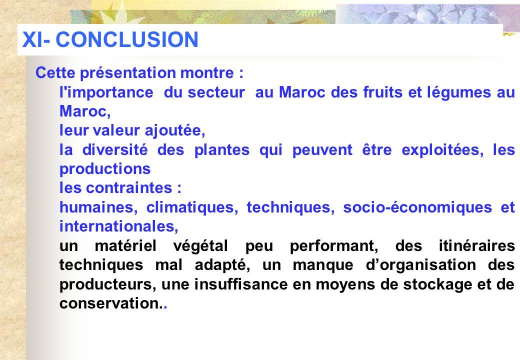 XI- CONCLUSION Cette présentation montre :