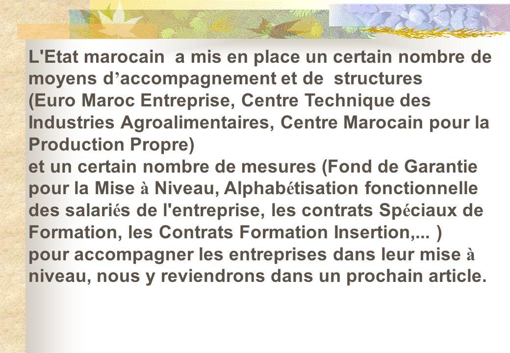L Etat marocain a mis en place un certain nombre de moyens d'accompagnement et de structures.