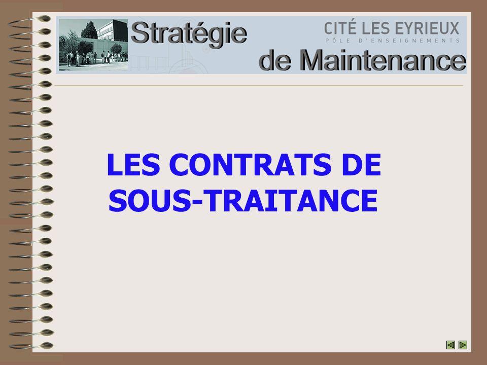 LES CONTRATS DE SOUS-TRAITANCE