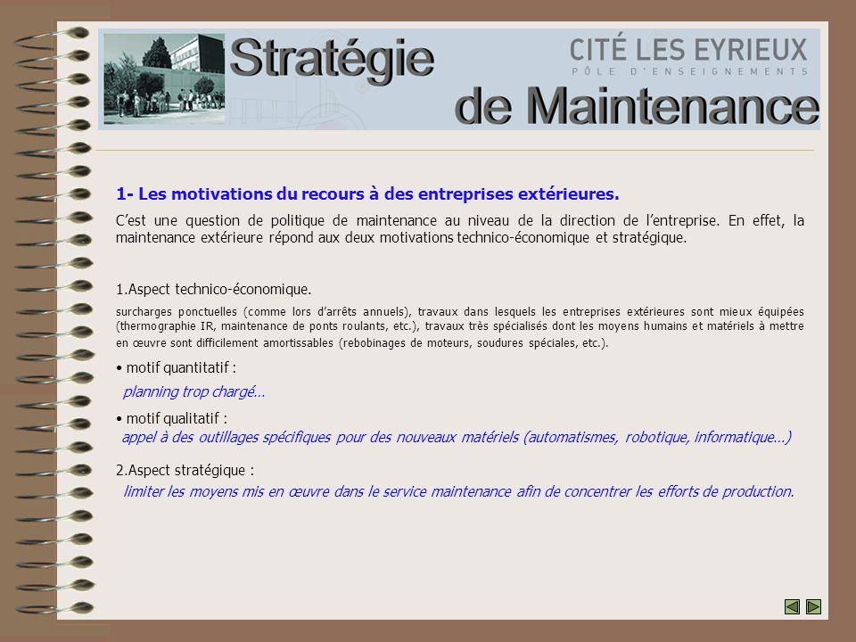 1- Les motivations du recours à des entreprises extérieures.