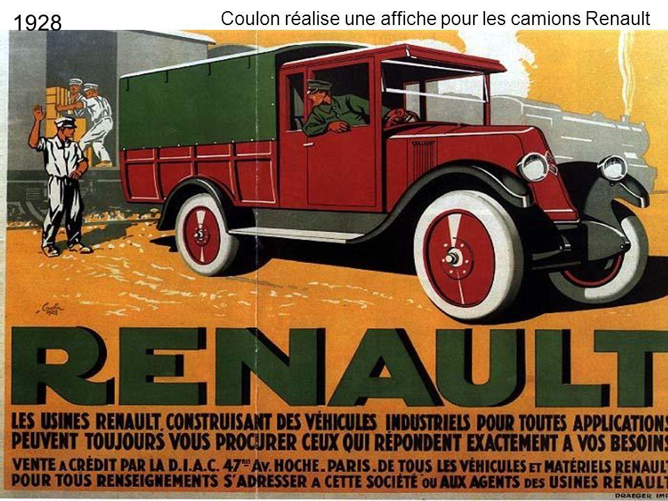1928 Coulon réalise une affiche pour les camions Renault