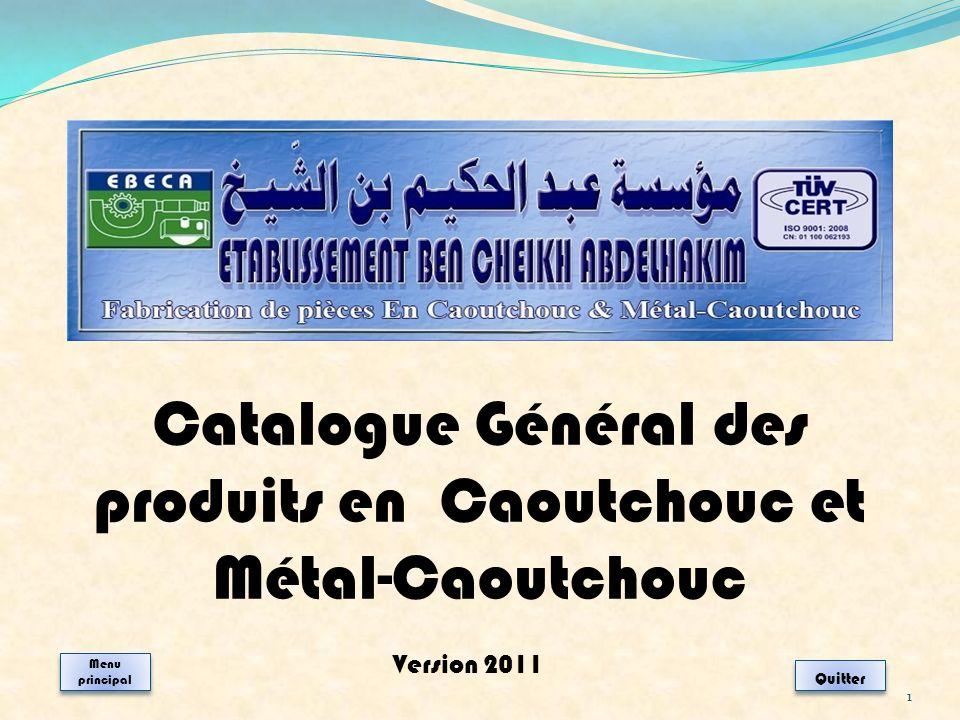 Catalogue Général des produits en Caoutchouc et Métal-Caoutchouc