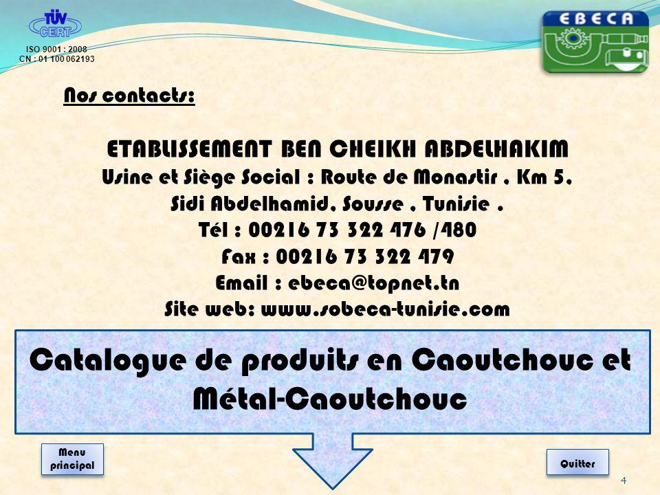 Catalogue de produits en Caoutchouc et Métal-Caoutchouc