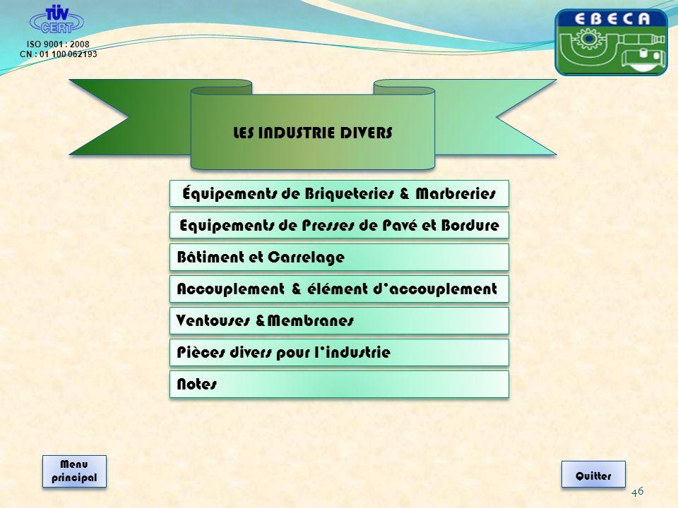 Équipements de Briqueteries & Marbreries