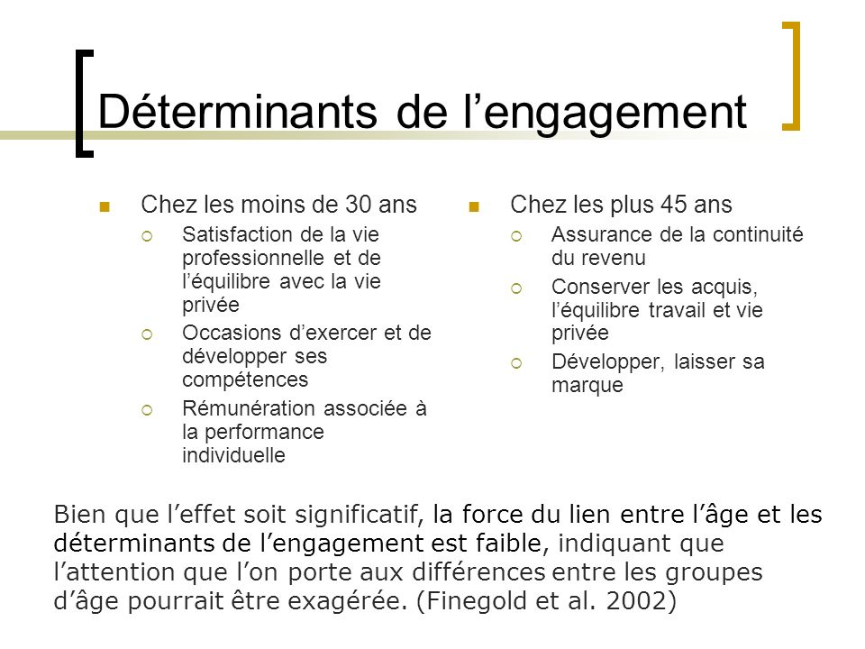 Déterminants de l'engagement