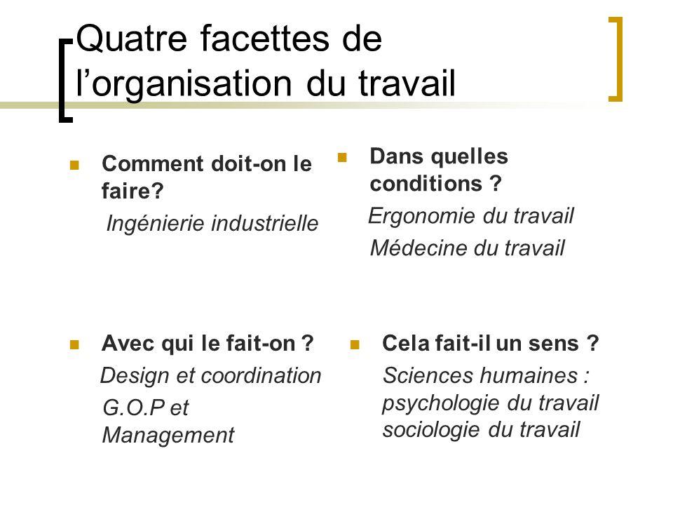 Quatre facettes de l'organisation du travail