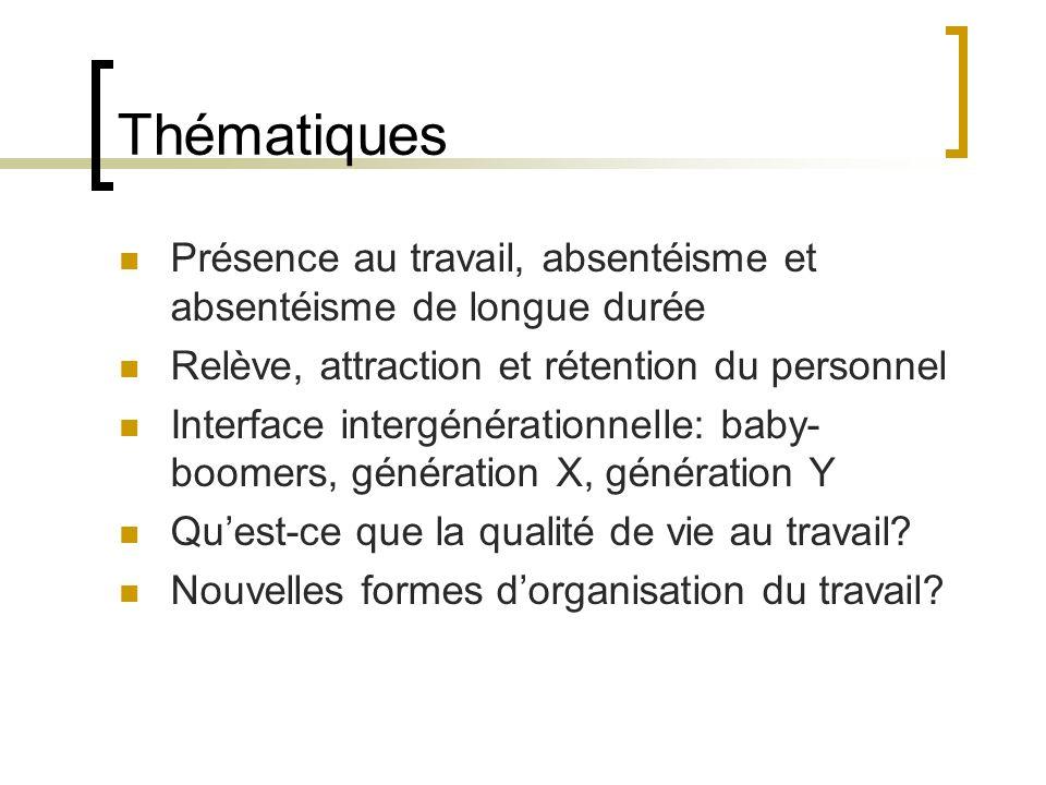 Thématiques Présence au travail, absentéisme et absentéisme de longue durée. Relève, attraction et rétention du personnel.