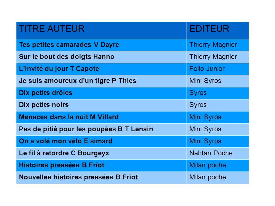 TITRE AUTEUR EDITEUR Tes petites camarades V Dayre Thierry Magnier