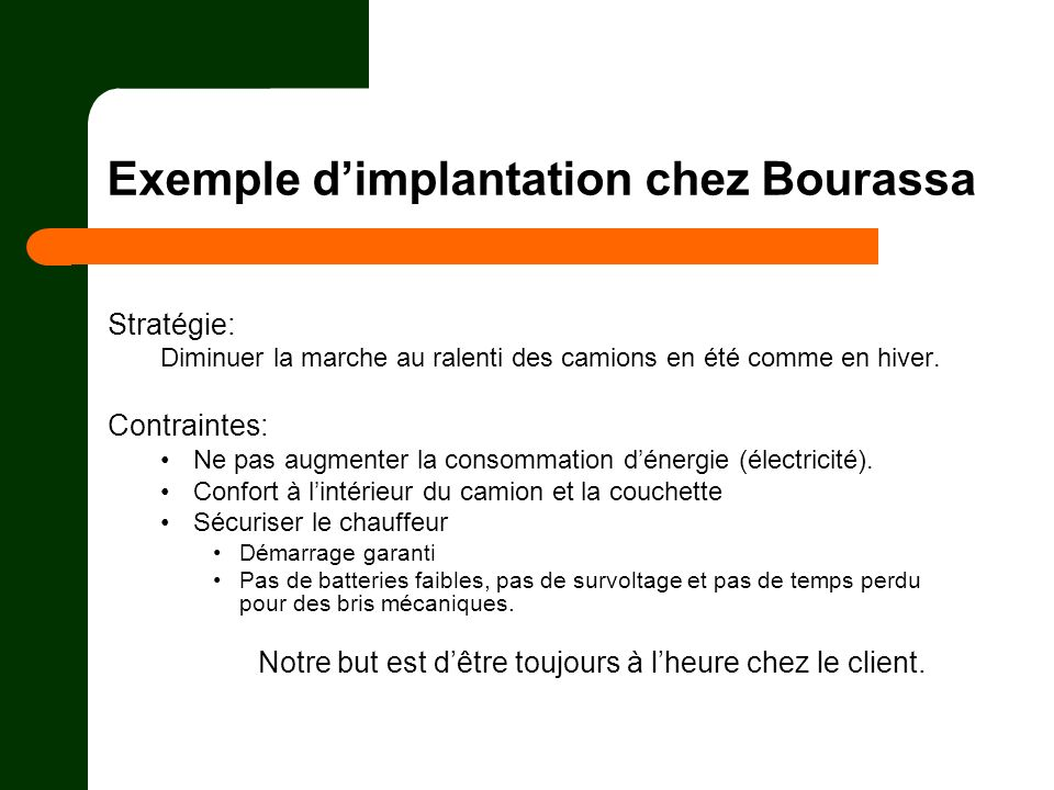 Exemple d'implantation chez Bourassa