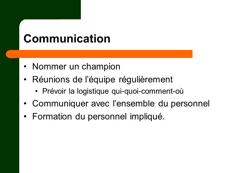 Communication Nommer un champion Réunions de l'équipe régulièrement