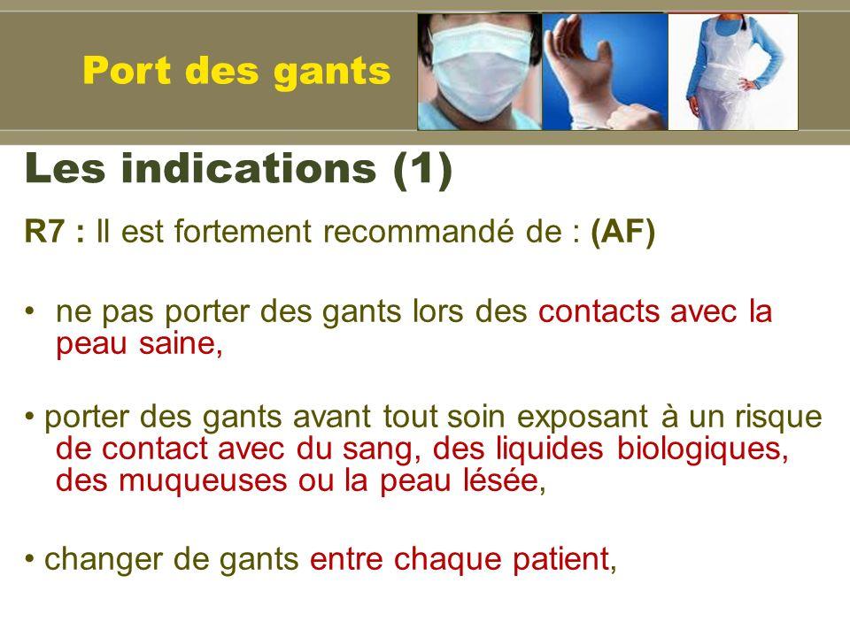 Les indications (1) Port des gants