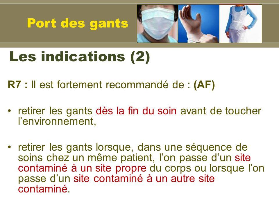 Les indications (2) Port des gants