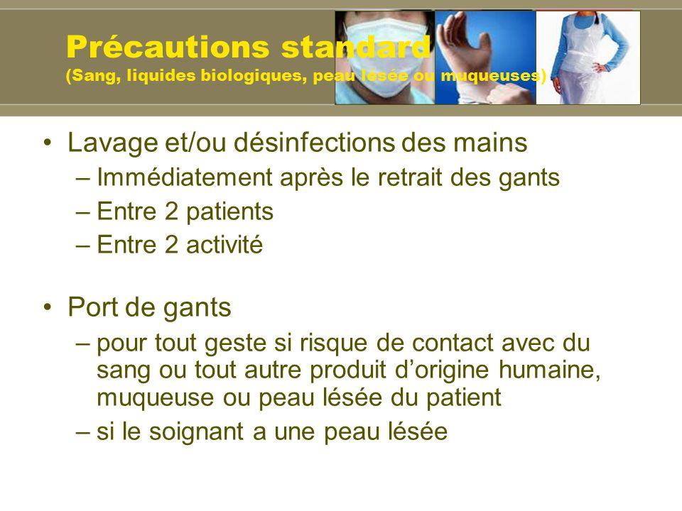 Précautions standard (Sang, liquides biologiques, peau lésée ou muqueuses)