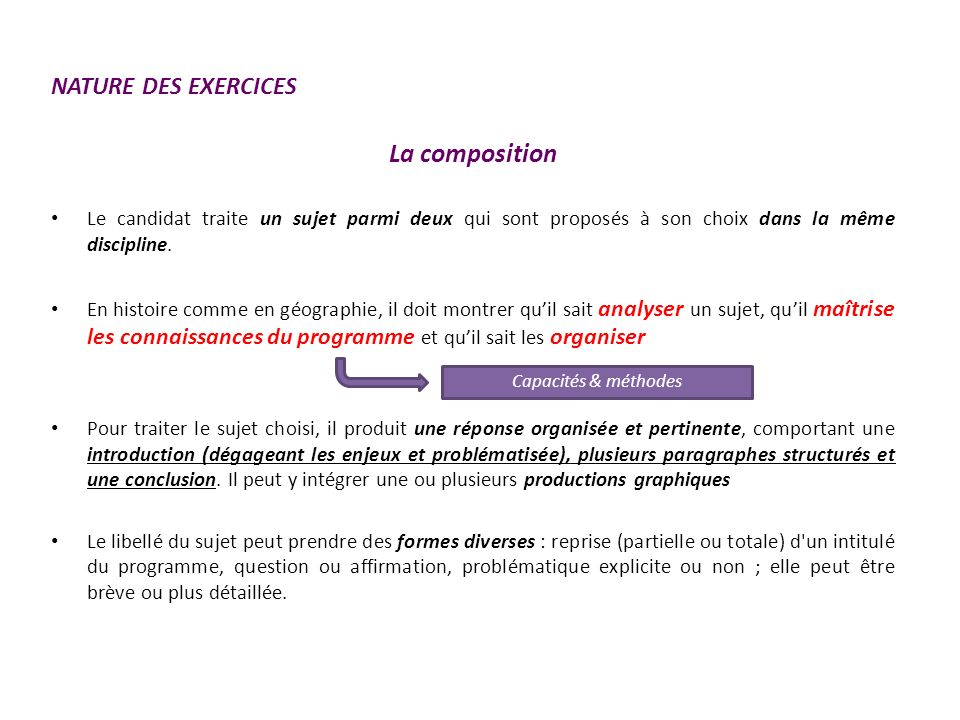 La composition NATURE DES EXERCICES