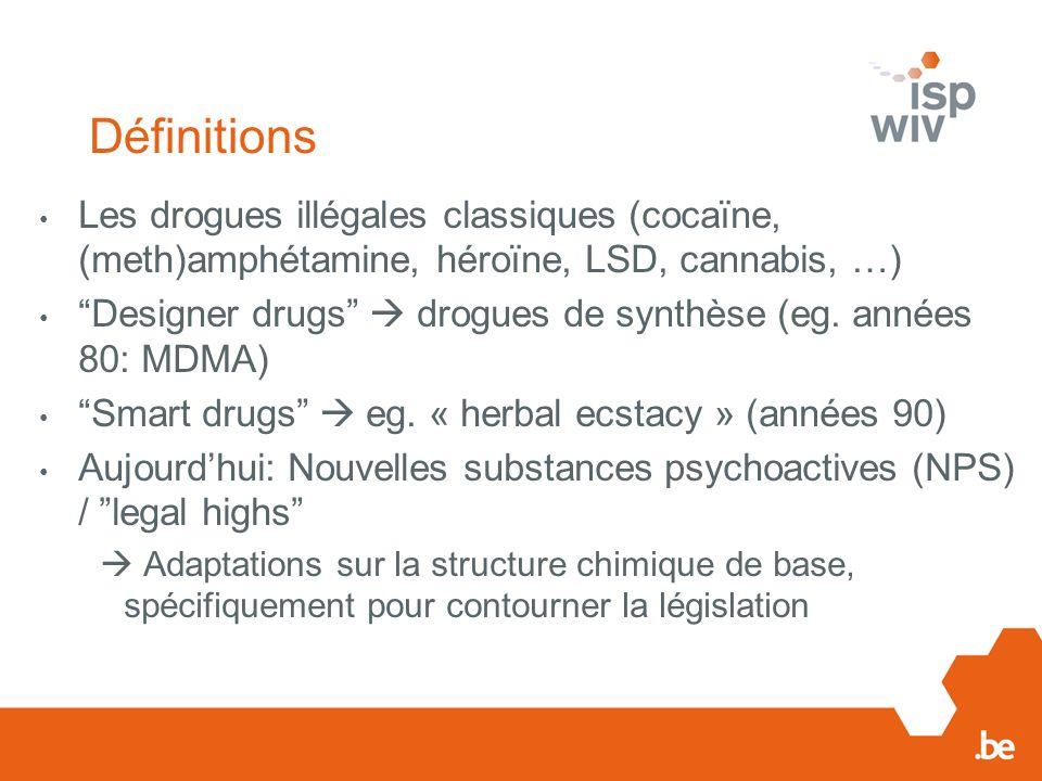 Définitions Les drogues illégales classiques (cocaïne, (meth)amphétamine, héroïne, LSD, cannabis, …)