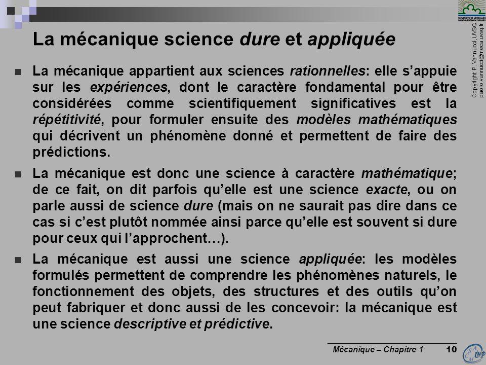La mécanique science dure et appliquée