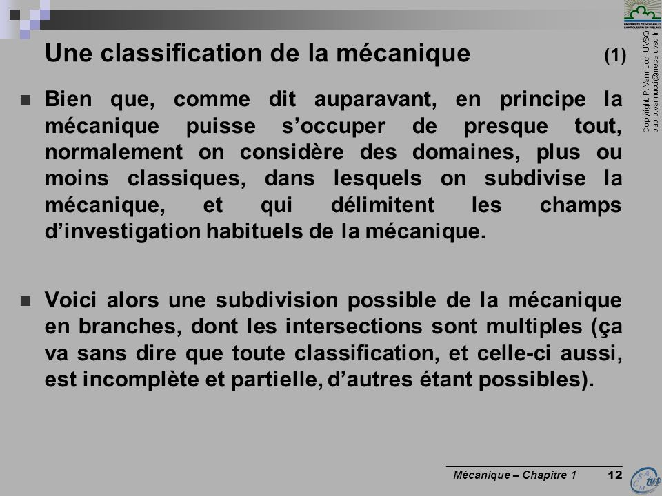 Une classification de la mécanique (1)