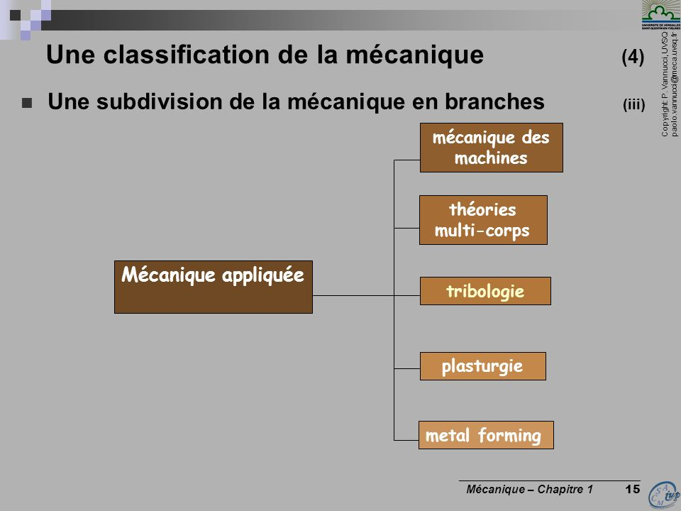 Une classification de la mécanique (4)