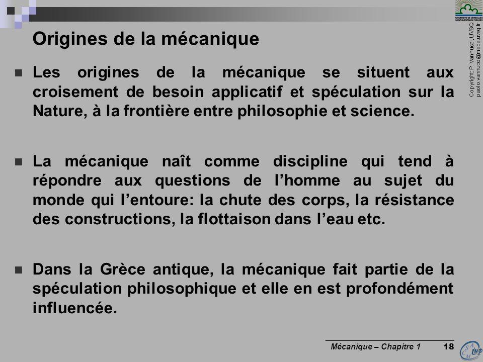 Origines de la mécanique