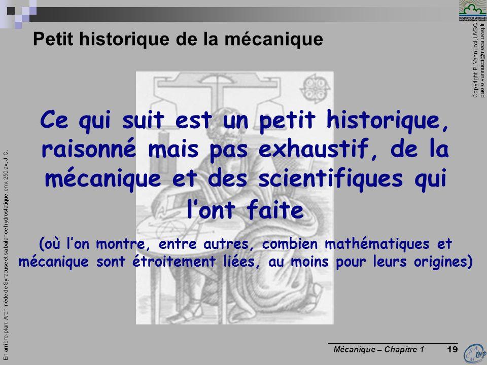 Petit historique de la mécanique