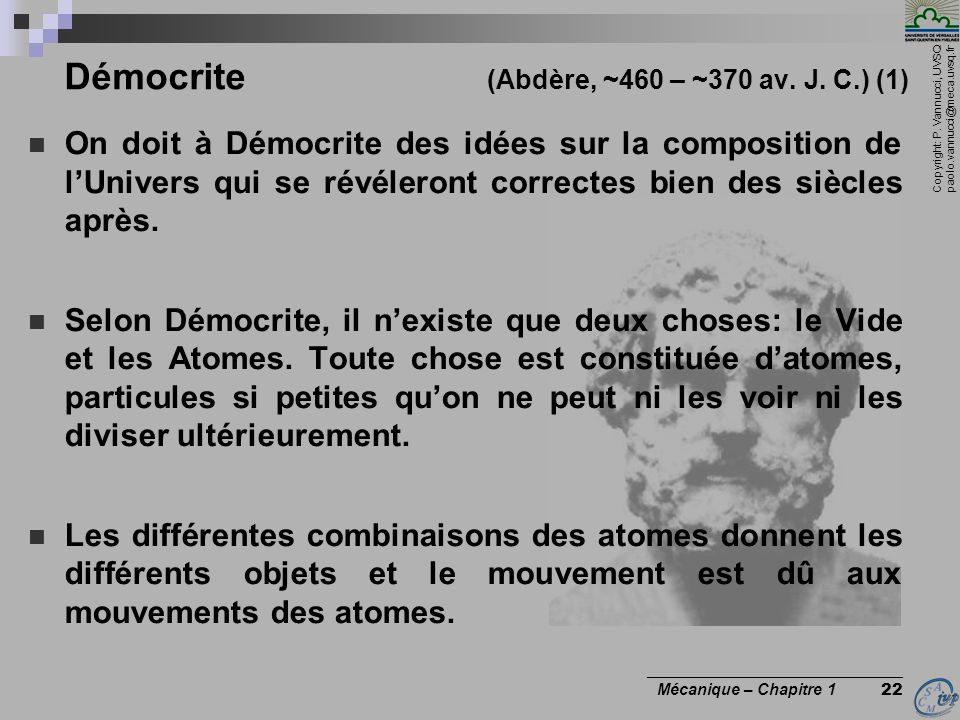 Démocrite (Abdère, ~460 – ~370 av. J. C.) (1)