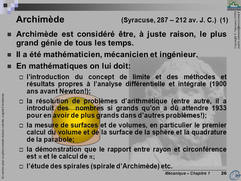 Archimède (Syracuse, 287 – 212 av. J. C.) (1)