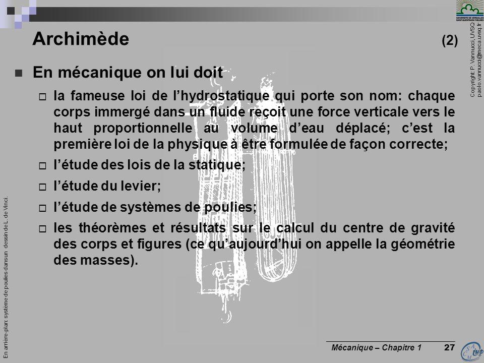 Archimède (2) En mécanique on lui doit