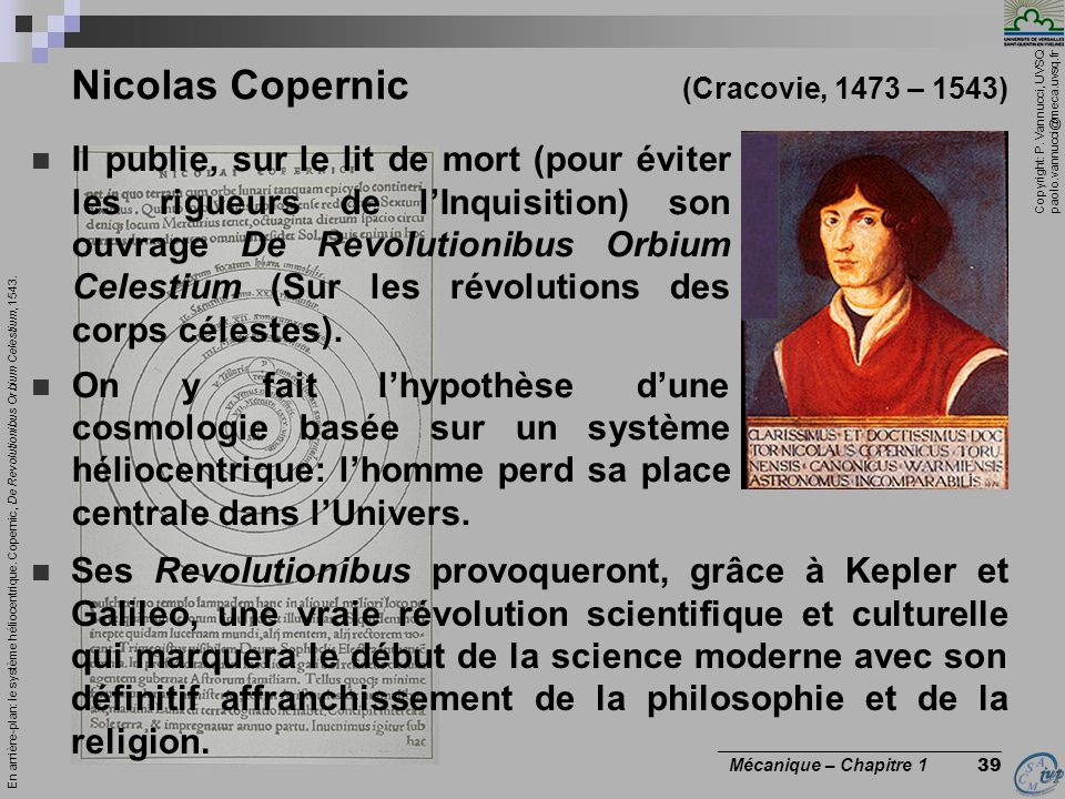 Nicolas Copernic (Cracovie, 1473 – 1543)