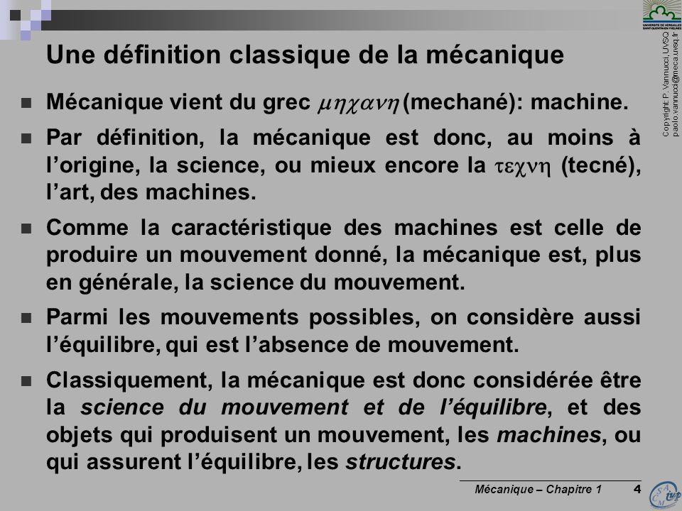 Une définition classique de la mécanique