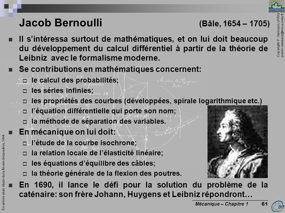 Jacob Bernoulli (Bâle, 1654 – 1705)