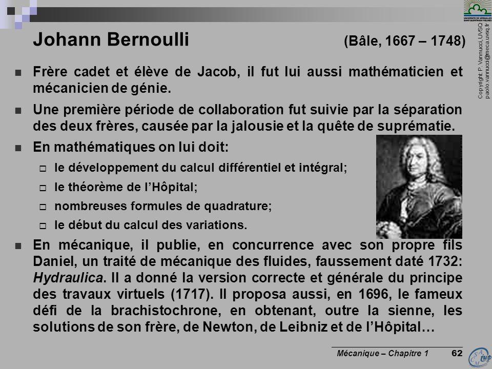 Johann Bernoulli (Bâle, 1667 – 1748)