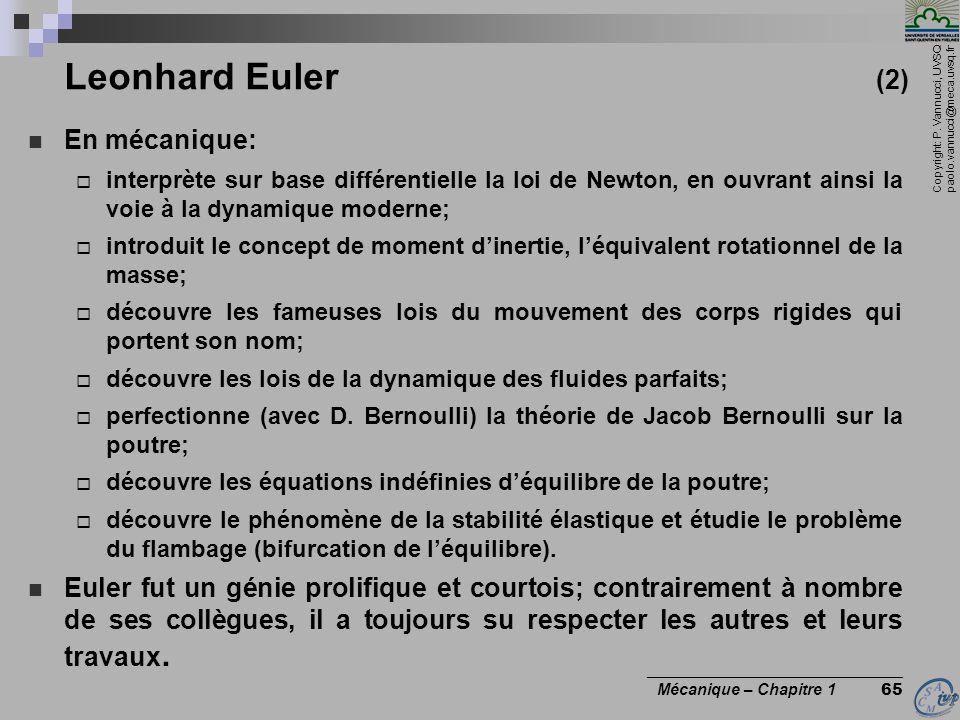 Leonhard Euler (2) En mécanique: