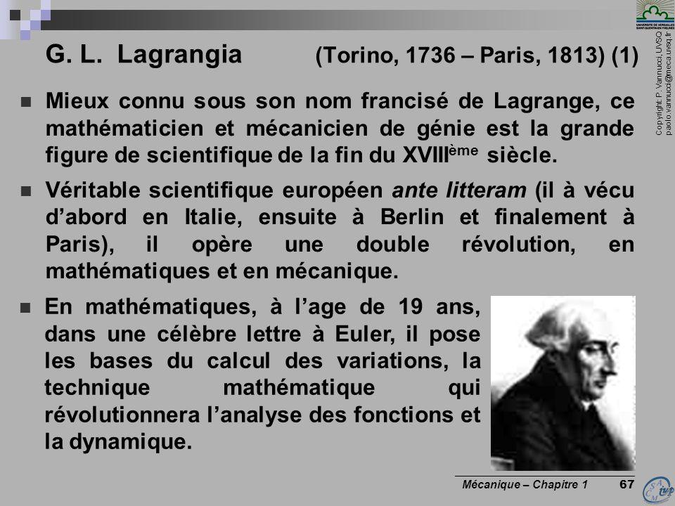 G. L. Lagrangia (Torino, 1736 – Paris, 1813) (1)