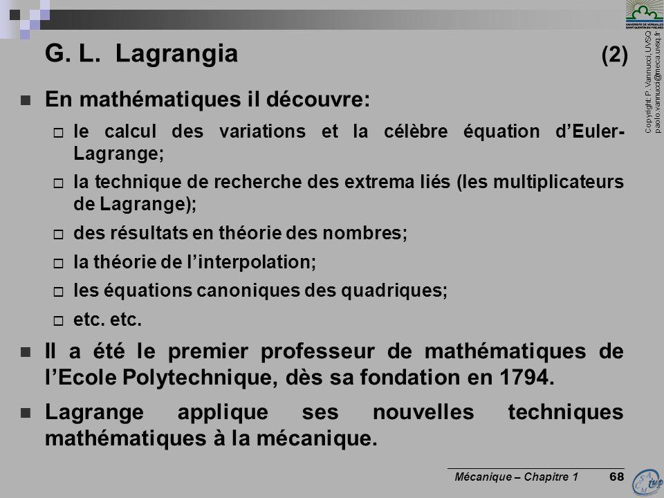 G. L. Lagrangia (2) En mathématiques il découvre: