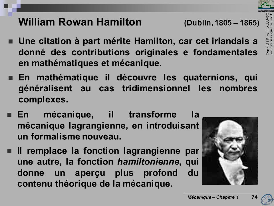 William Rowan Hamilton (Dublin, 1805 – 1865)