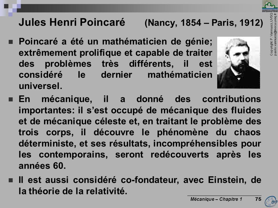 Jules Henri Poincaré (Nancy, 1854 – Paris, 1912)